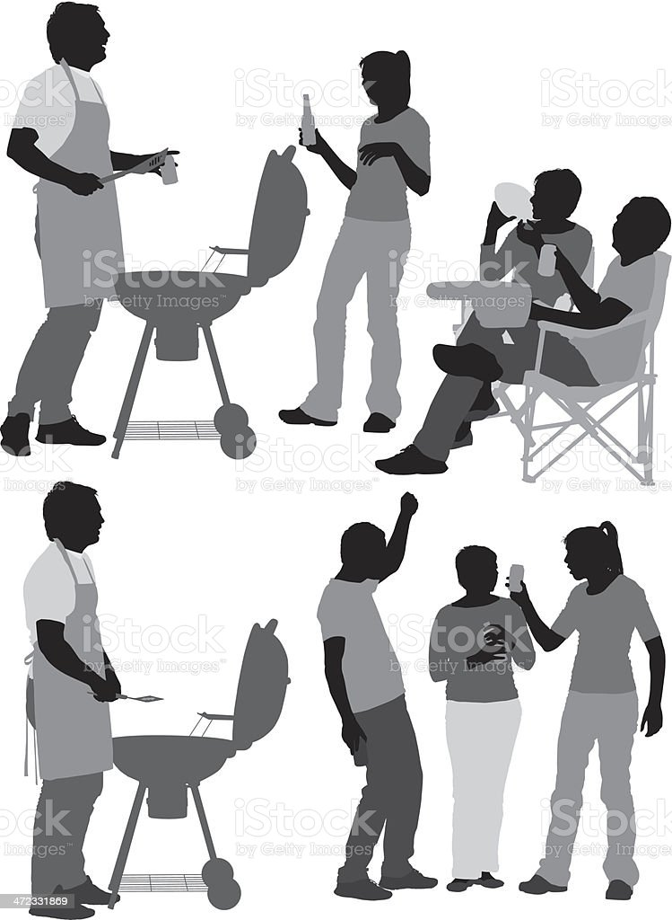 silhouette of people in a barbecue setting stock vector