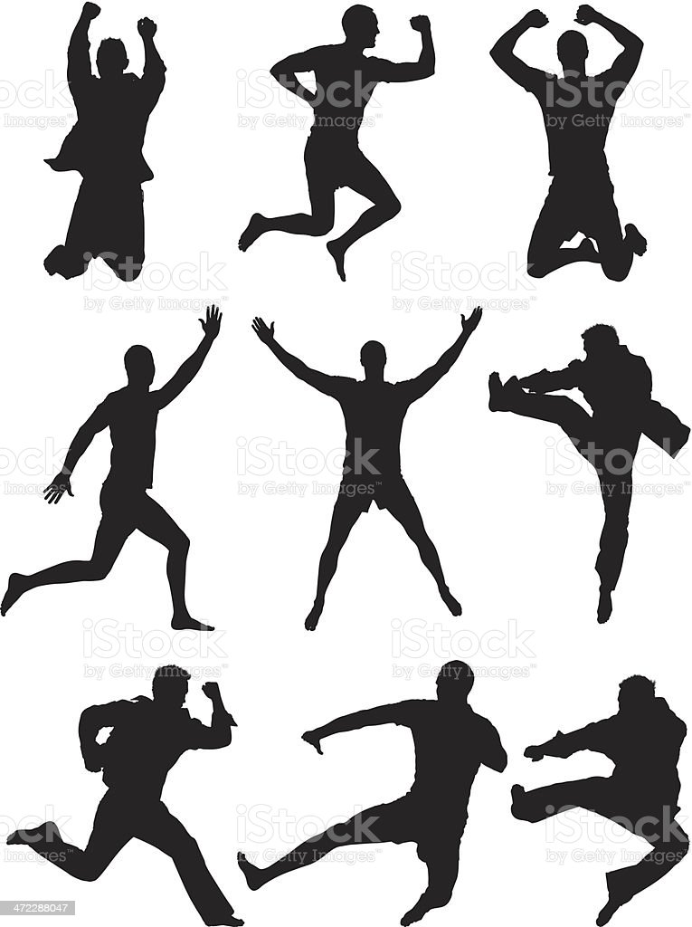 Silhouette of people in action vector art illustration