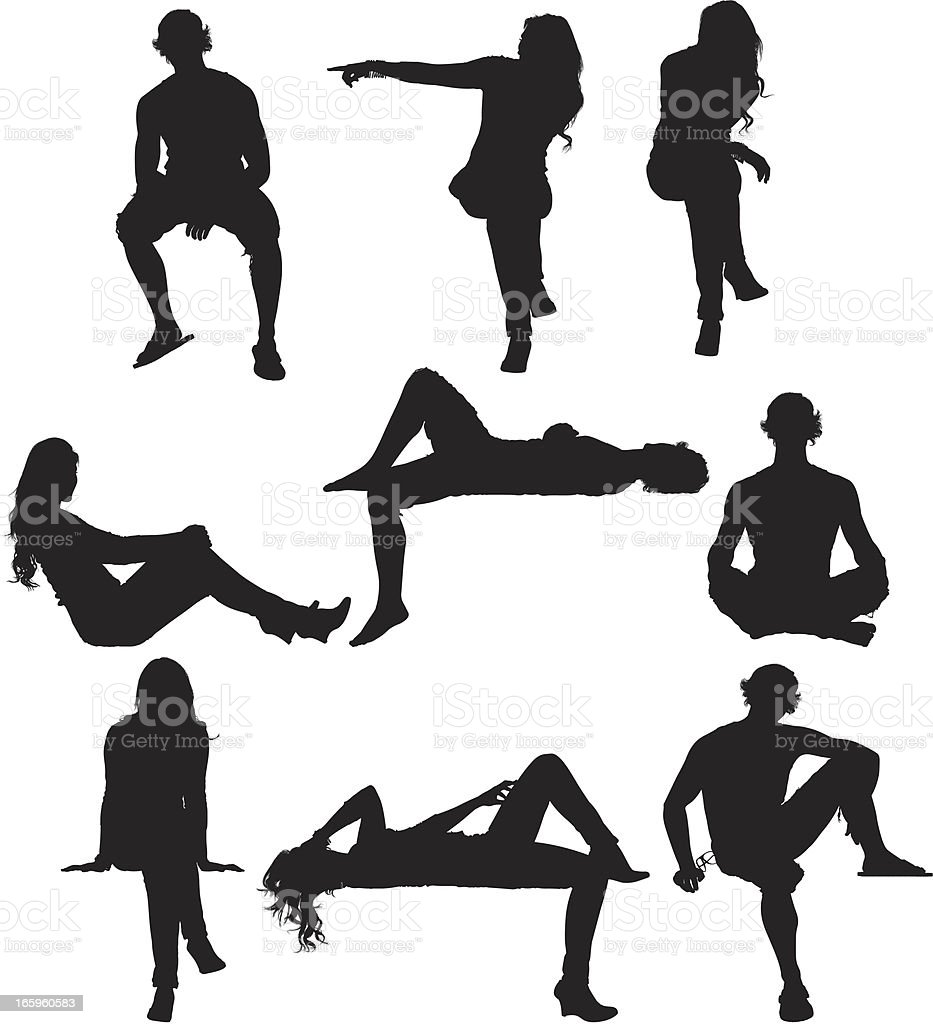 Silhouette Of People In Different Poses Stock Vector Art