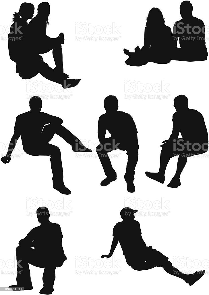 Silhouette of people in different poses vector art illustration