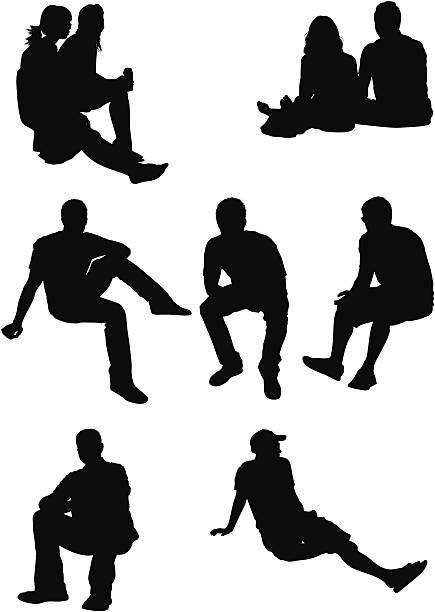 bildbanksillustrationer, clip art samt tecknat material och ikoner med silhouette of people in different poses - sitta