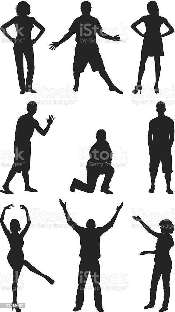 Silhouette of people in different poses royalty-free silhouette of people in different poses stock vector art & more images of adult