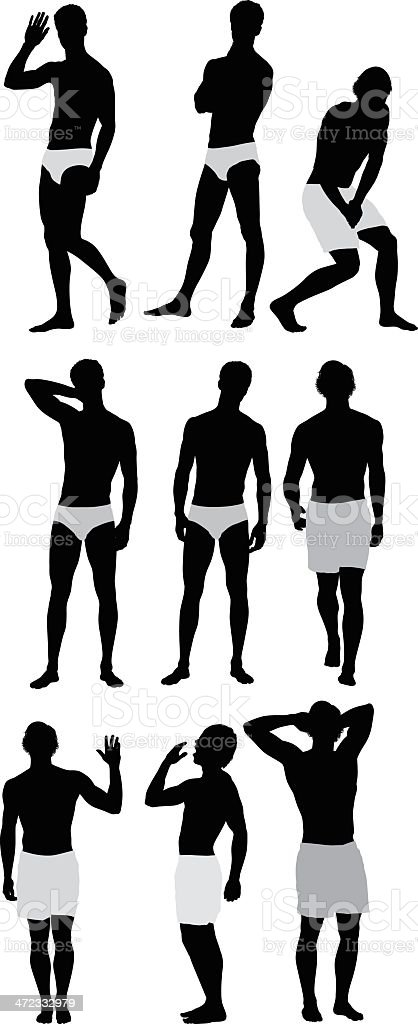 Silhouette of people in undergarments royalty-free stock vector art