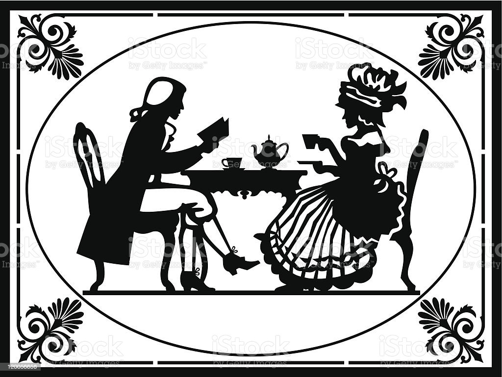 Silhouette of people in Victorian ages having tea royalty-free stock vector art