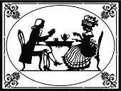 Retro victorian illustration. Man and woman drinking tea and leasing book, retro illustration, black and white vector illustration.