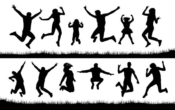 Silhouette of people jumping on the grass vector art illustration