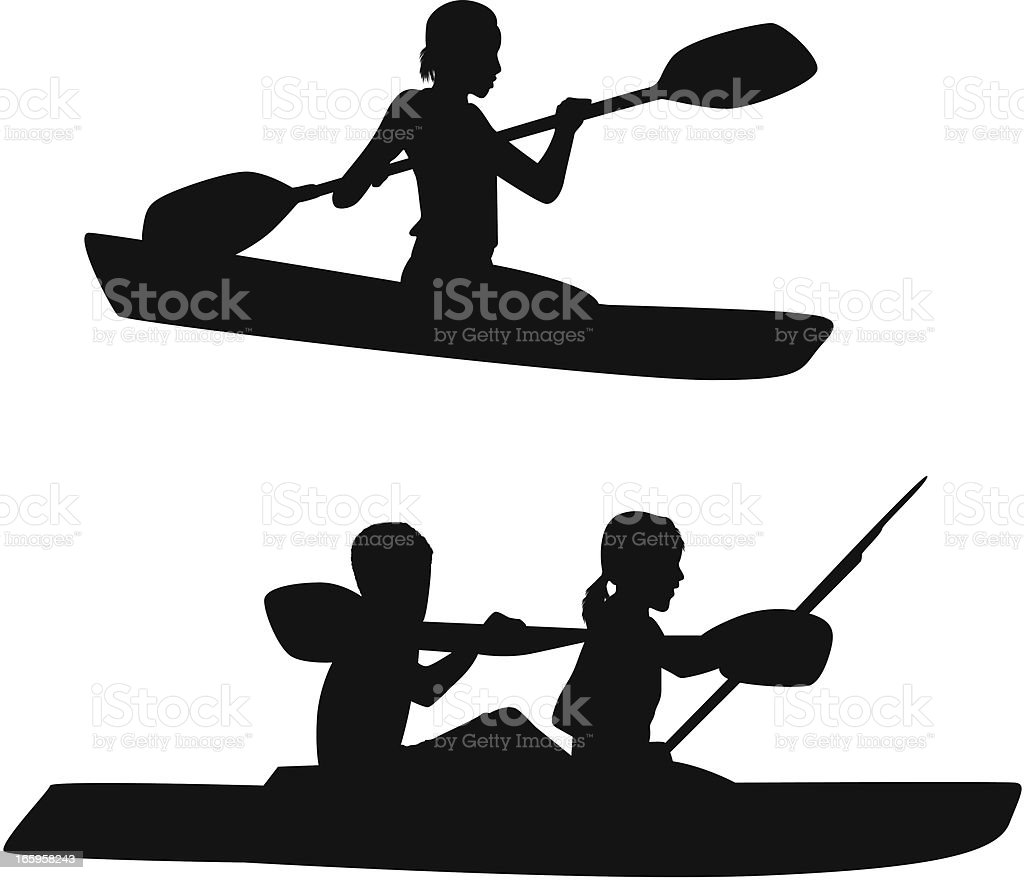Silhouette Of People Kayaking Royalty Free Stock Vector Art Amp
