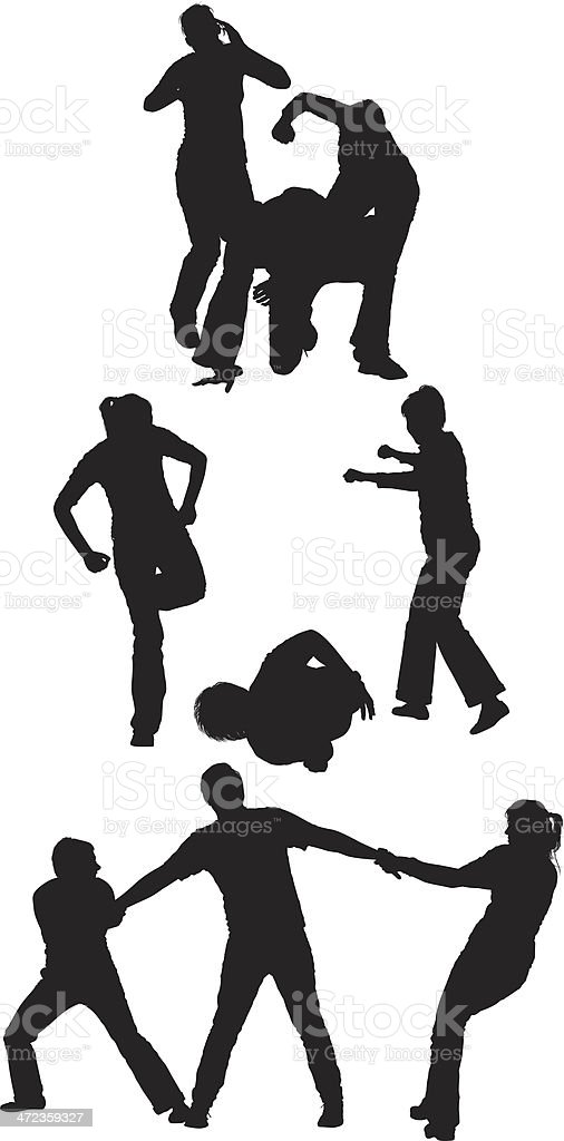 Silhouette of people on fighting royalty-free stock vector art