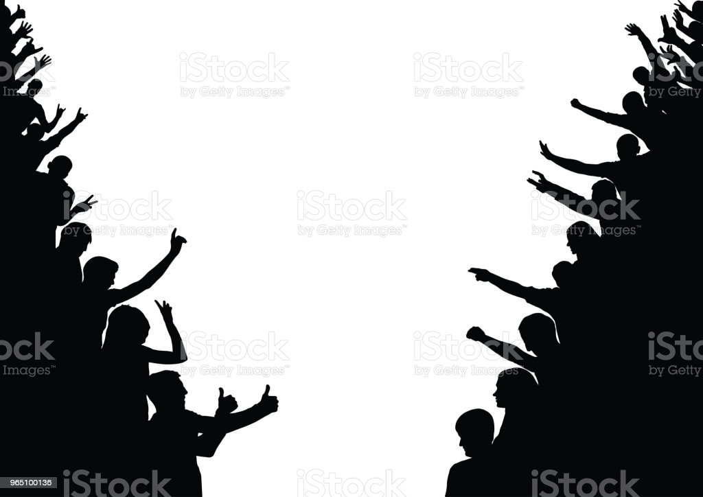 Silhouette of people on sides. Crowd, audience, fan. Vector silhouette of people on sides crowd audience fan vector - stockowe grafiki wektorowe i więcej obrazów baner royalty-free