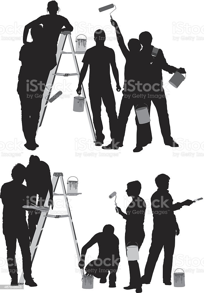 Silhouette of people painting vector art illustration