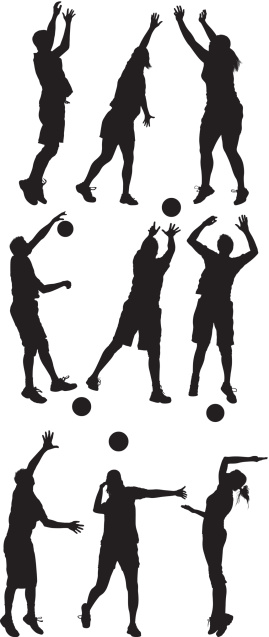 Silhouette of people playing volleyball