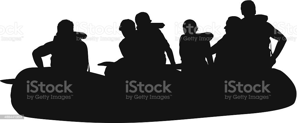 Silhouette of people rafting royalty-free stock vector art