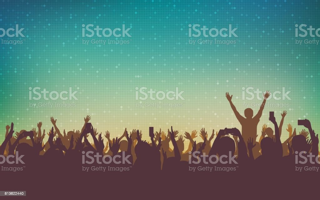 silhouette of people raise hand up in concert with smart phone and digital dot pattern on vintage color background vector art illustration