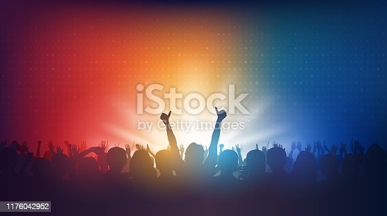 istock Silhouette of people raise hands up in concert and digital dot pattern. on red and blue color background 1176042952