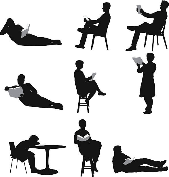 Silhouette of people reading books Silhouette of people reading bookshttp://www.twodozendesign.info/i/1.png book silhouettes stock illustrations