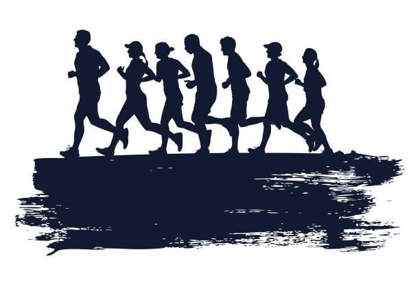 bildbanksillustrationer, clip art samt tecknat material och ikoner med silhuetten av människor som kör maraton med grunge stänk, vektor - jogging hill