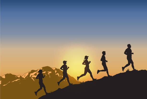 bildbanksillustrationer, clip art samt tecknat material och ikoner med silhuetten av människor som kör uppför, vektor - jogging hill