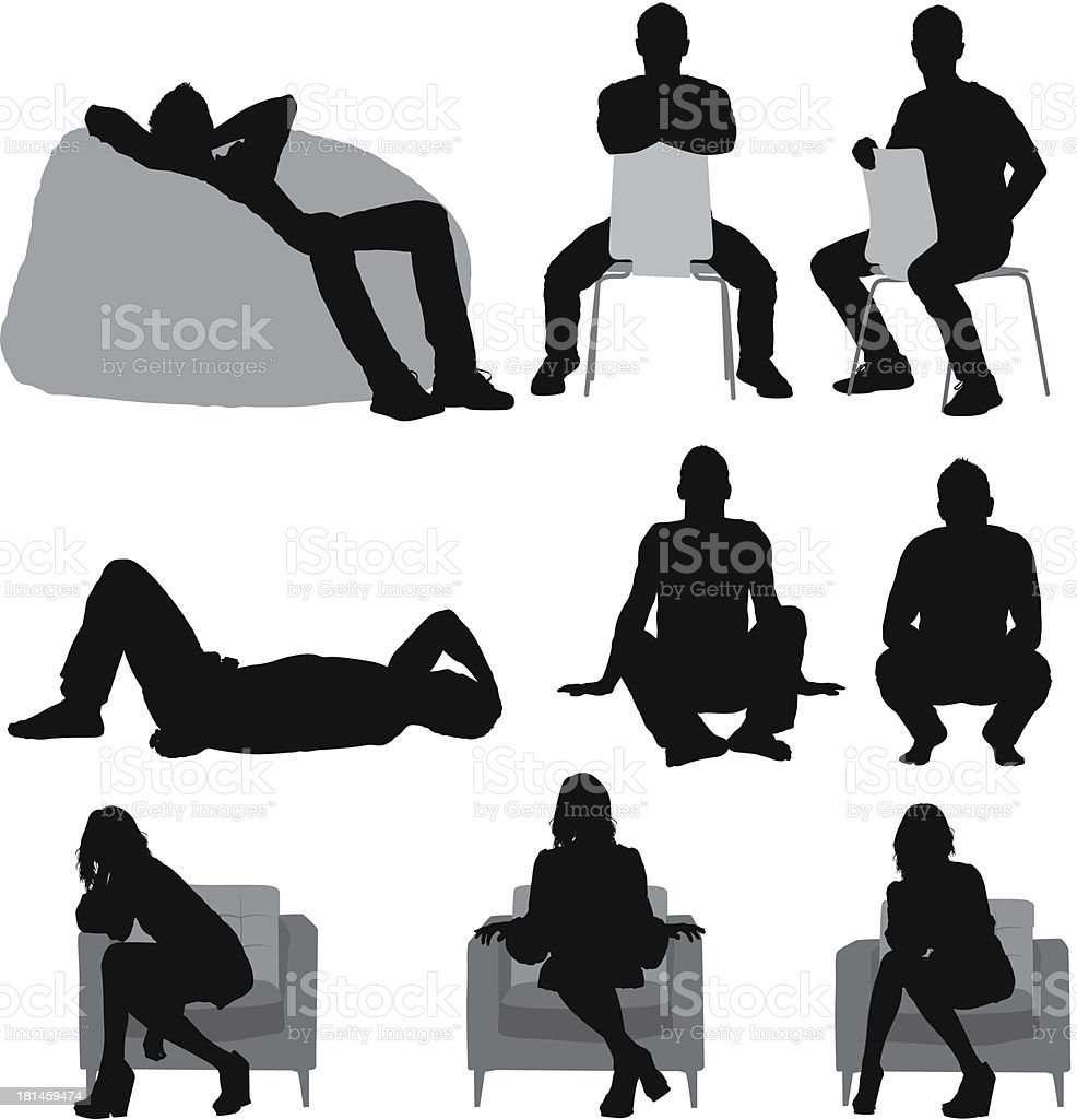 Silhouette of people sitting in different poses vector art illustration