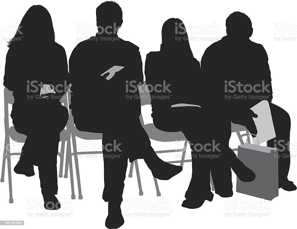 Silhouette of people sitting on chairs royalty-free stock vector art