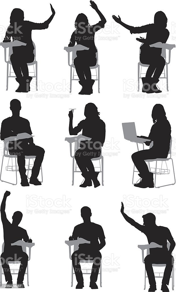 Silhouette of people sitting on writing chairs royalty-free stock vector art