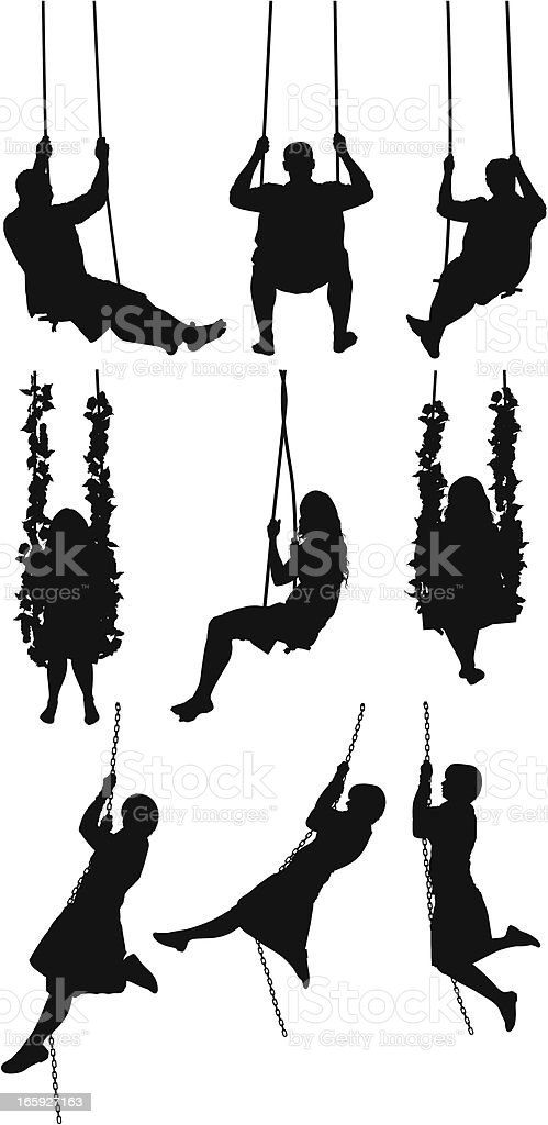Silhouette of people swinging on swings royalty-free silhouette of people swinging on swings stock vector art & more images of adult