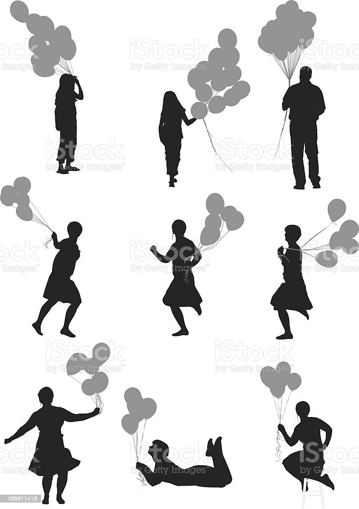 Silhouette of people with balloons royalty-free stock vector art