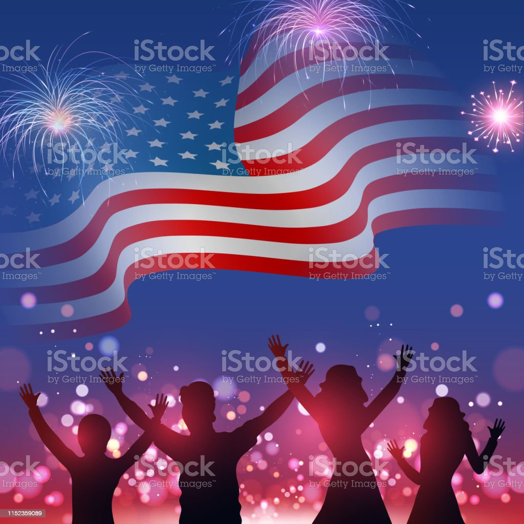 Silhouette Of Peoples Character Enjoying On Wavy American