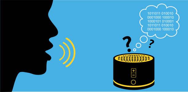 silhouette von person, die mit verwirrten smarten lautsprecher spricht. digitaler assistent übersetzt befehle in datenbytes-künstliche intelligenz und maschinelles lernen. - assistent stock-grafiken, -clipart, -cartoons und -symbole