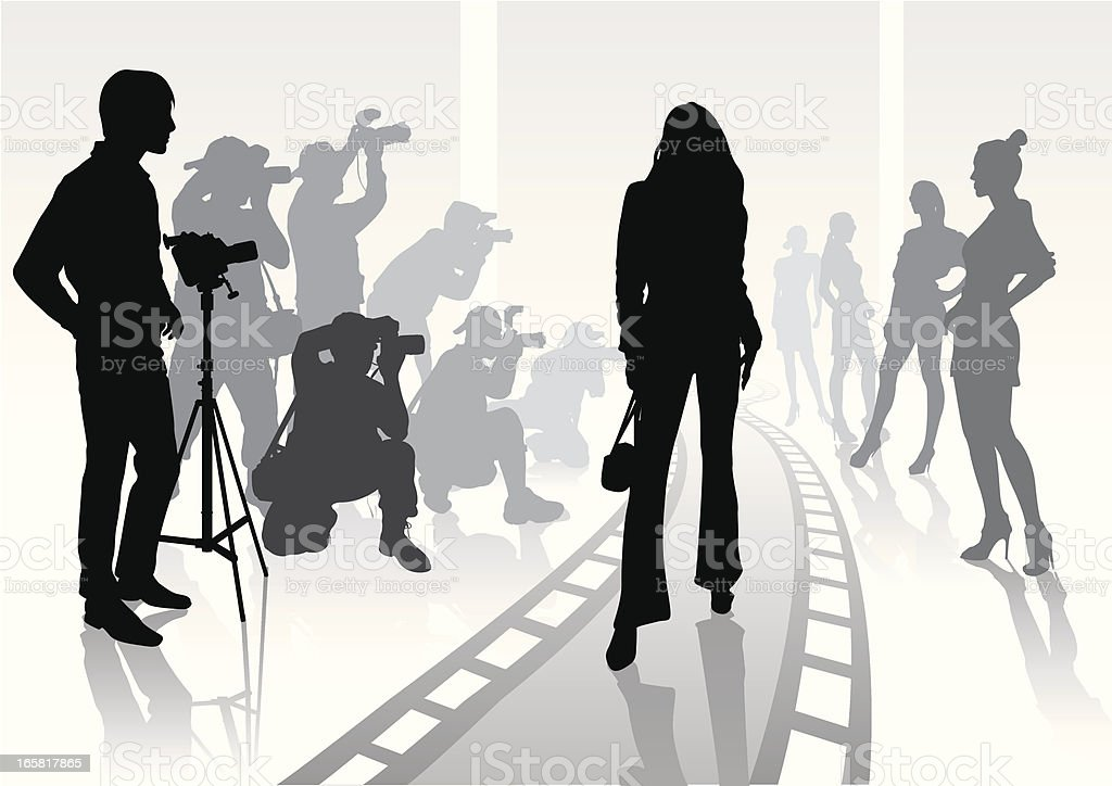 Silhouette of photographer on modeling shoot vector art illustration