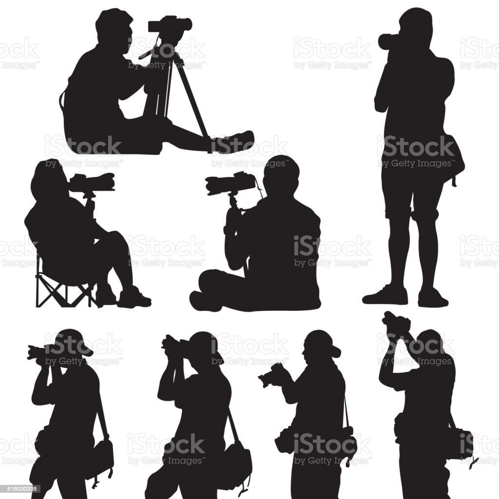 silhouette of photographer vector vector art illustration