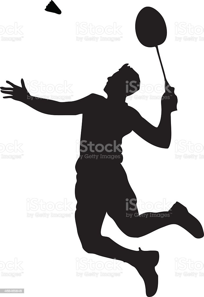 Silhouette of professional badminton player. Smash shot vector art illustration