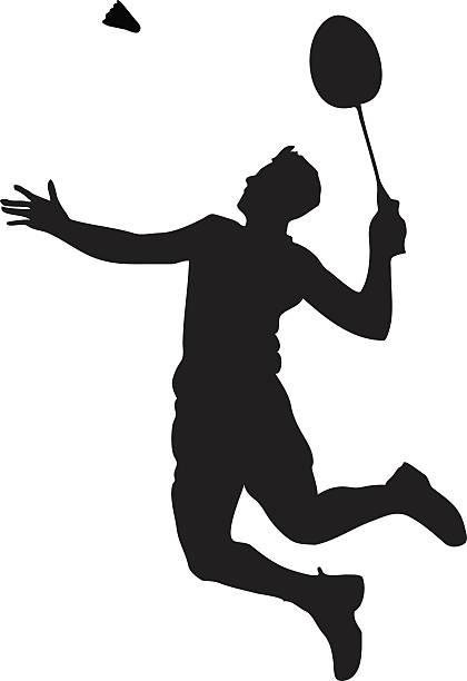 silhouette von professionellen badminton.   smash aufnahme - badminton stock-grafiken, -clipart, -cartoons und -symbole