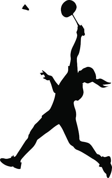 silhouette von professionellen weiblichen badminton player - badminton stock-grafiken, -clipart, -cartoons und -symbole
