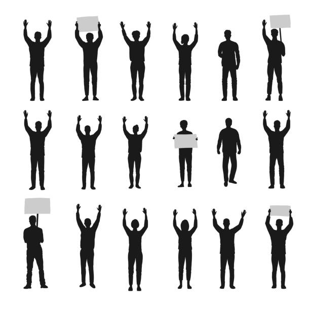Silhouette of protesting people with hands up vector set Silhouette of protesting people with hands up vector set. police meeting stock illustrations