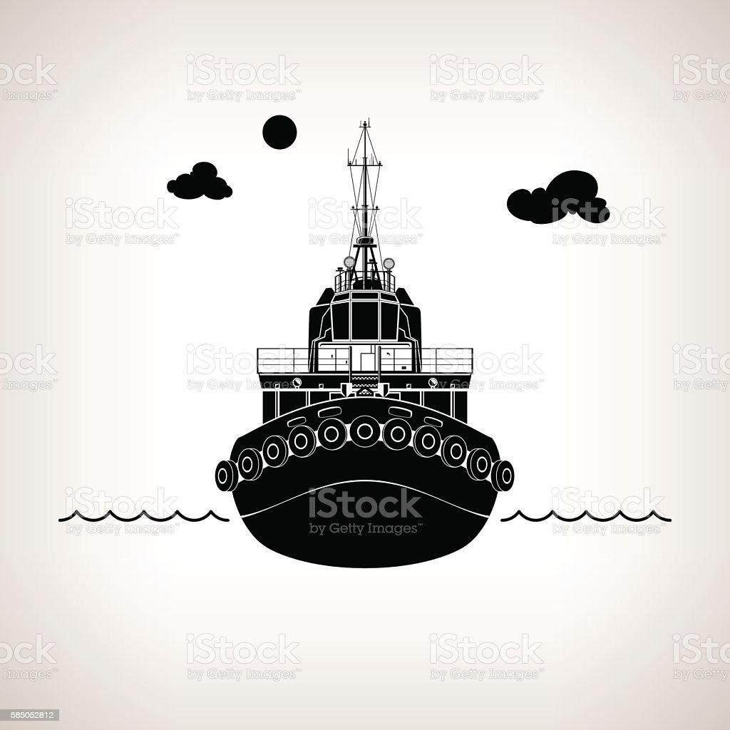 Silhouette of Push Boat vector art illustration