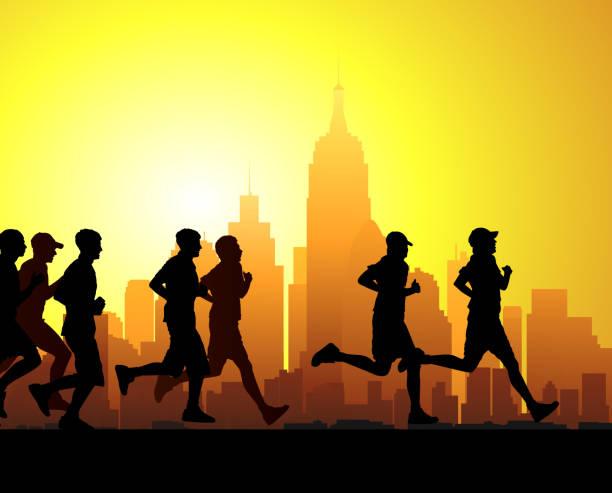 marathon - langstreckenlauf stock-grafiken, -clipart, -cartoons und -symbole