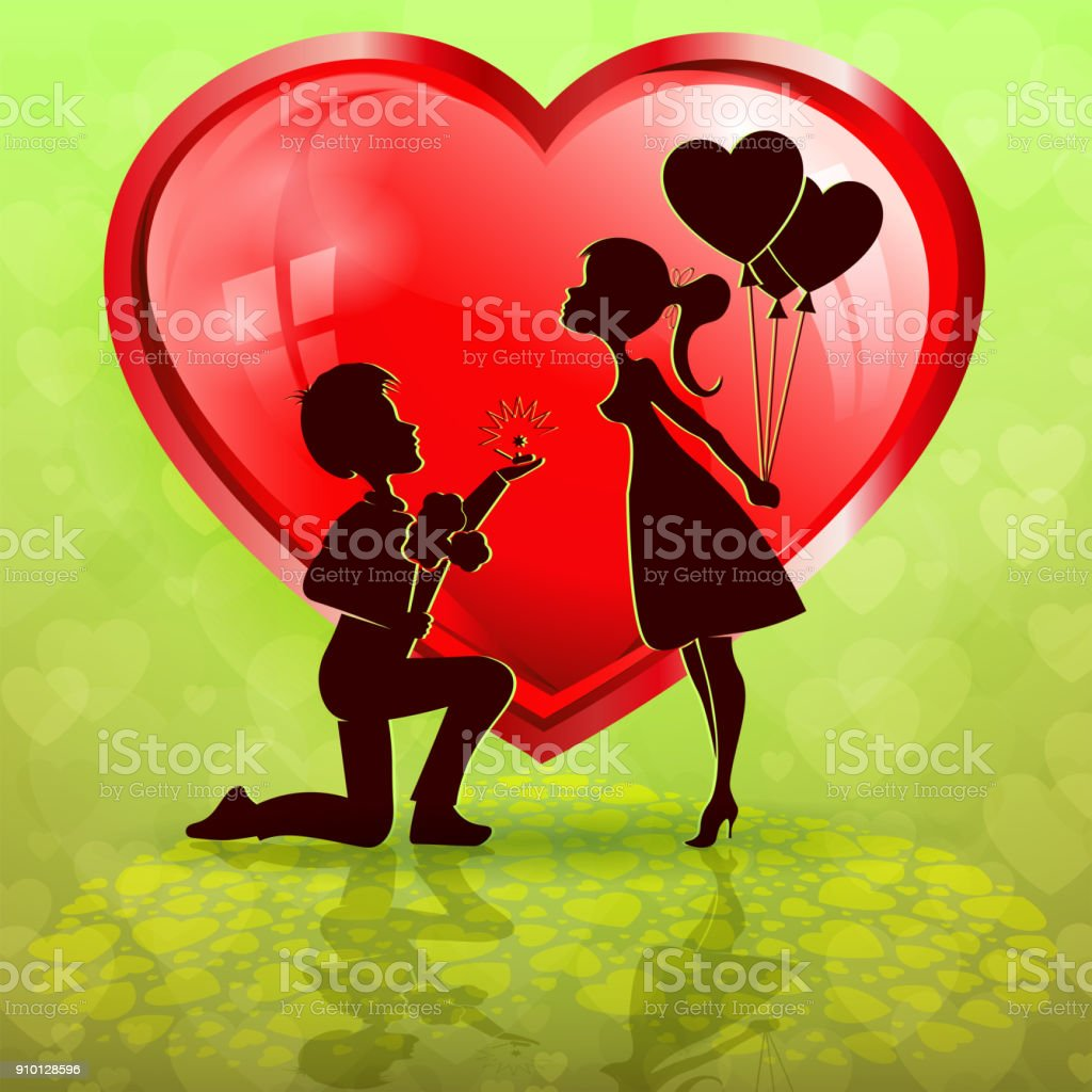 silhouette of red heart with boy and girl vector art illustration