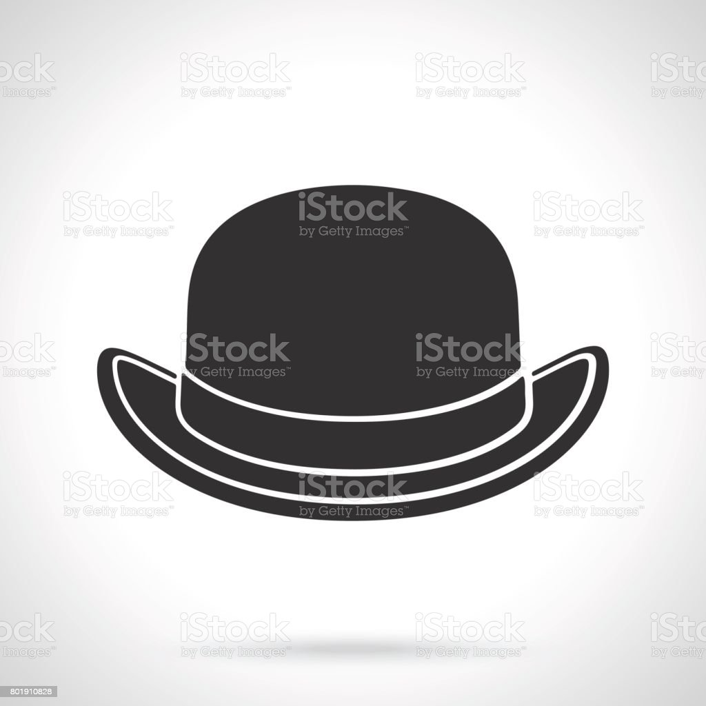 Silhouette of retro bowler hat front view vector art illustration
