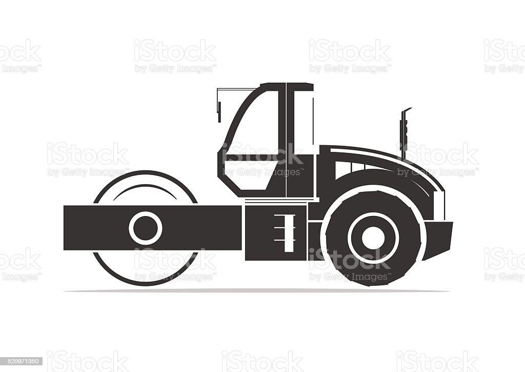 Silhouette of road roller vector art illustration