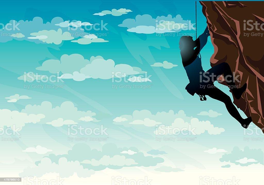 Silhouette di roccia climber. Vettoriale di sport. - illustrazione arte vettoriale