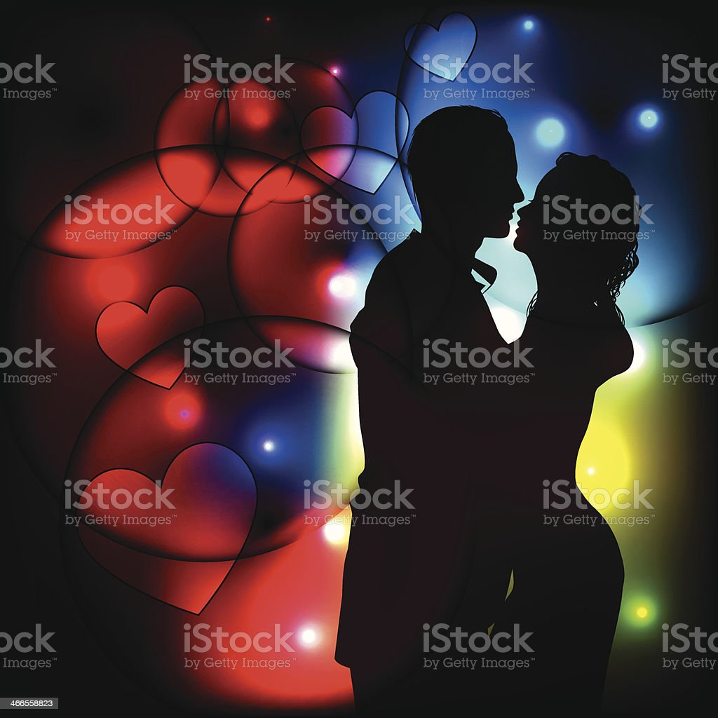 silhouette of romantic couple on abstract light background vector art illustration