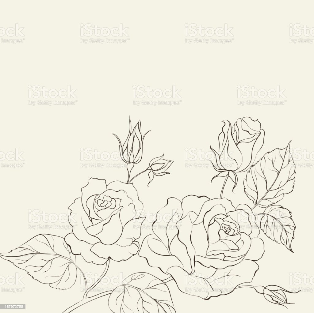 Silhouette of rose. royalty-free stock vector art