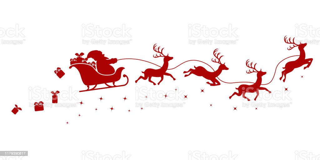 Silhouette of Santa on a sleigh flying with deer and throwing gifts on a white. - arte vettoriale royalty-free di Animale