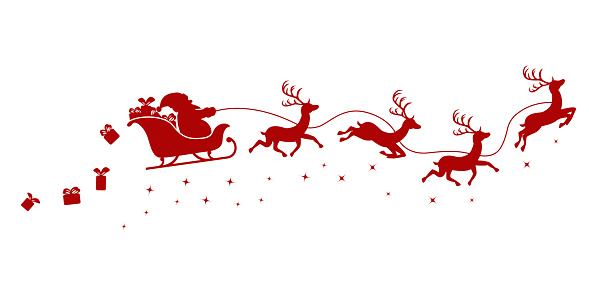 Silhouette of Santa on a sleigh flying with deer and throwing gifts on a white background.