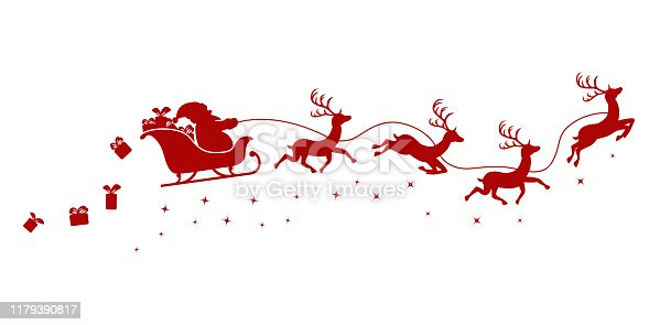 istock Silhouette of Santa on a sleigh flying with deer and throwing gifts on a white. 1179390817