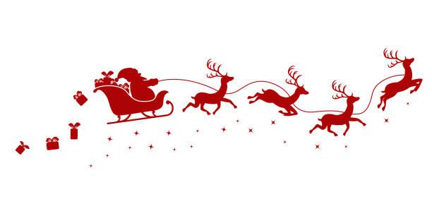 silhouette des weihnachtsmannes auf einem schlitten fliegen mit hirschen und werfen geschenke auf einem weißen. - santa stock-grafiken, -clipart, -cartoons und -symbole