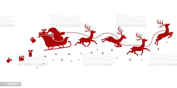 Silhouette Of Santa On A Sleigh Flying With Deer And Throwing Gifts On A White - Immagini vettoriali stock e altre immagini di Animale