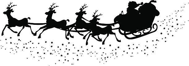 Silhouette of santa´s sleigh Illustrated silhouette of santa´s sleigh personal land vehicle stock illustrations
