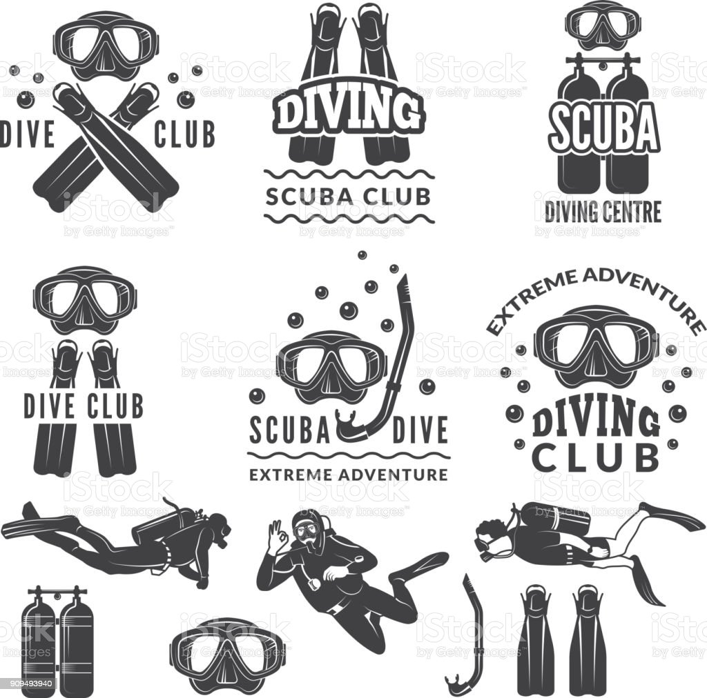 Silhouette of scuba and divers. Labels for sea sport club vector art illustration