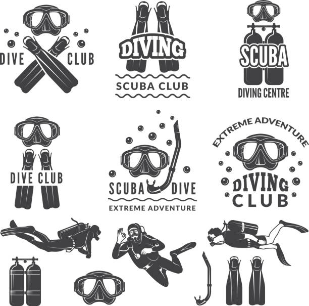 Silhouette of scuba and divers. Labels for sea sport club Silhouette of scuba and divers. Labels for sea sport club. Diver emblem, underwater sport vector illustration diving into water stock illustrations